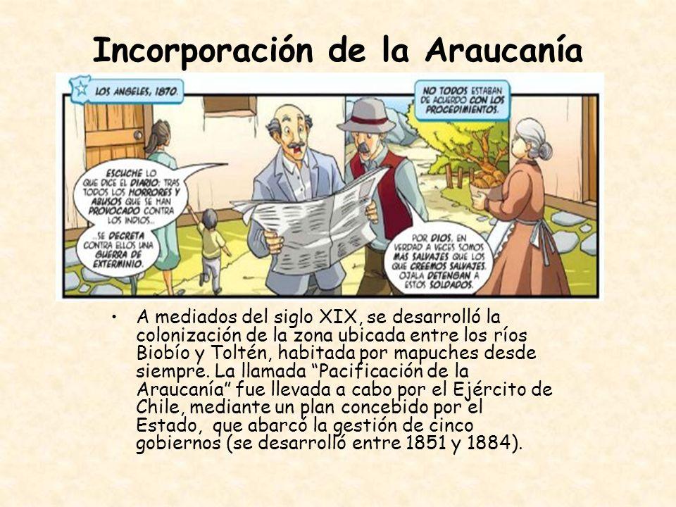 Incorporación de la Araucanía A mediados del siglo XIX, se desarrolló la colonización de la zona ubicada entre los ríos Biobío y Toltén, habitada por