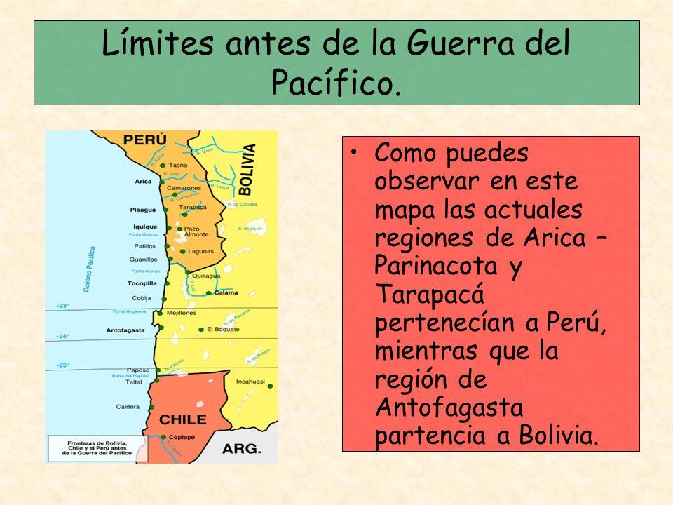 Límites antes de la Guerra del Pacífico. Como puedes observar en este mapa las actuales regiones de Arica – Parinacota y Tarapacá pertenecían a Perú,