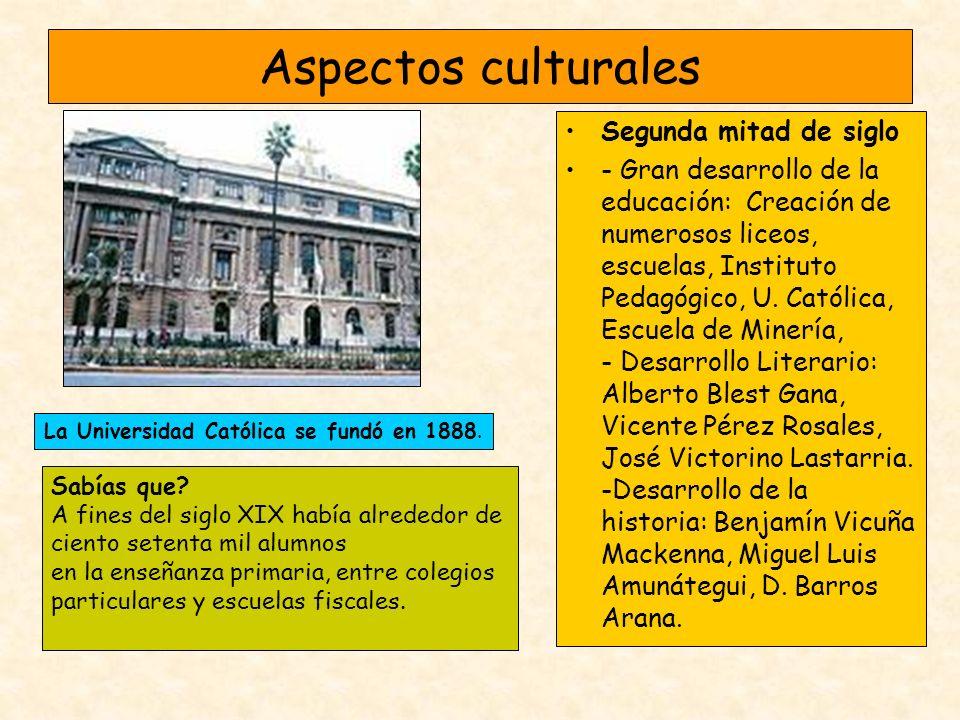 Aspectos culturales Segunda mitad de siglo - Gran desarrollo de la educación: Creación de numerosos liceos, escuelas, Instituto Pedagógico, U. Católic