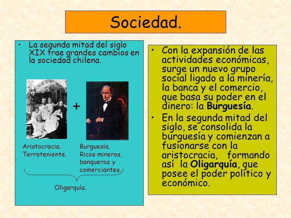 Sociedad. La segunda mitad del siglo XIX trae grandes cambios en la sociedad chilena. Con la expansión de las actividades económicas, surge un nuevo g