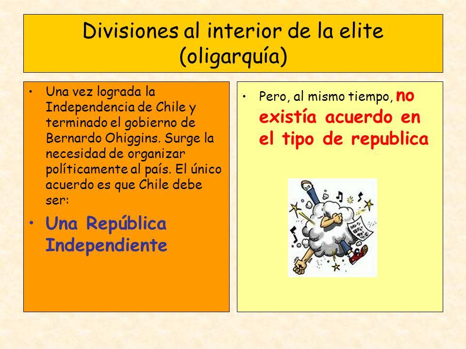 Divisiones al interior de la elite (oligarquía) Una vez lograda la Independencia de Chile y terminado el gobierno de Bernardo Ohiggins. Surge la neces