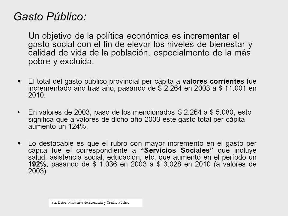 Gasto Público: Un objetivo de la política económica es incrementar el gasto social con el fin de elevar los niveles de bienestar y calidad de vida de la población, especialmente de la más pobre y excluida.