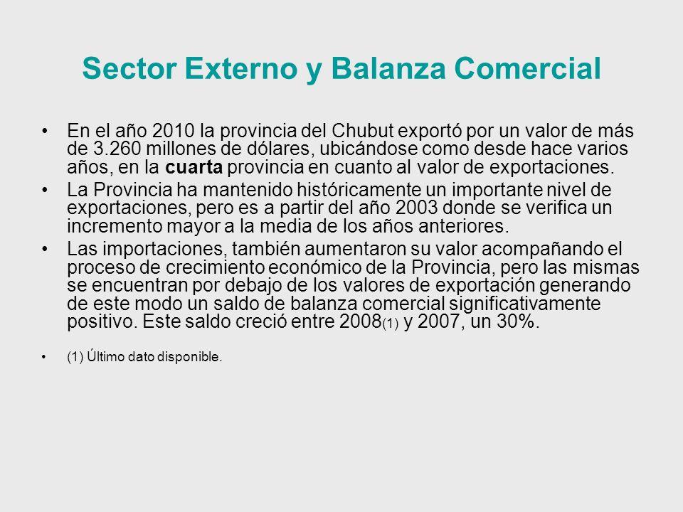 Sector Externo y Balanza Comercial En el año 2010 la provincia del Chubut exportó por un valor de más de 3.260 millones de dólares, ubicándose como desde hace varios años, en la cuarta provincia en cuanto al valor de exportaciones.