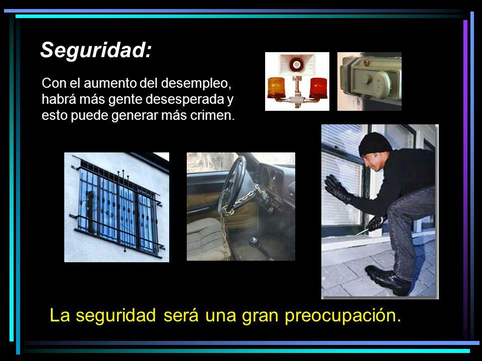 Seguridad: La seguridad será una gran preocupación.