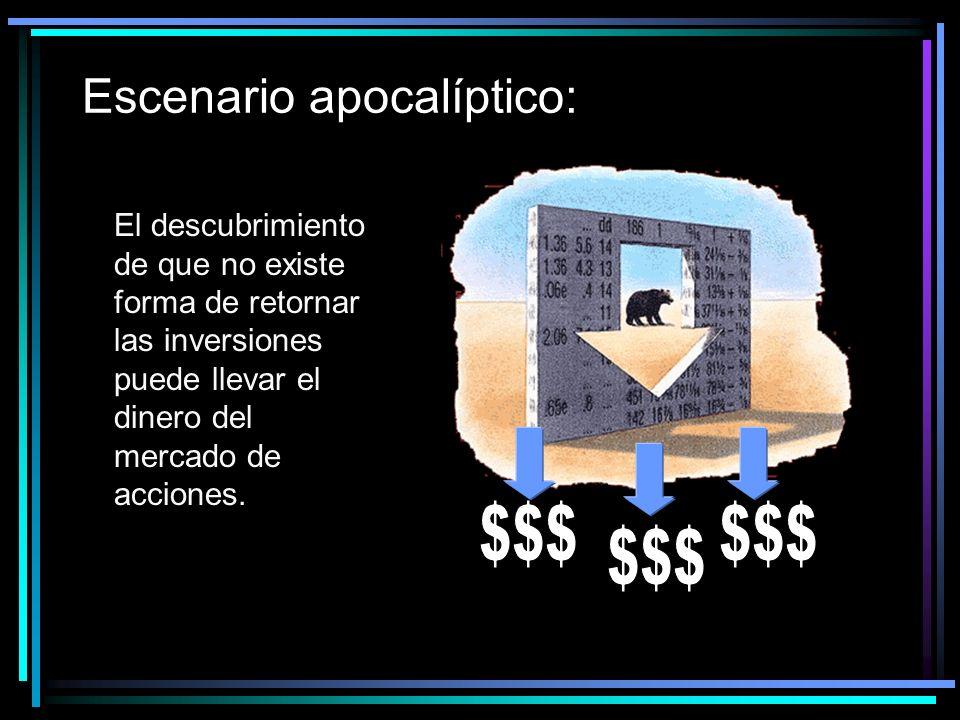 Escenario apocalíptico: El descubrimiento de que no existe forma de retornar las inversiones puede llevar el dinero del mercado de acciones.