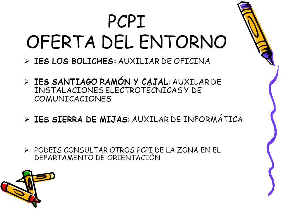 PCPI OFERTA DEL ENTORNO IES LOS BOLICHES: AUXILIAR DE OFICINA IES SANTIAGO RAMÓN Y CAJAL: AUXILAR DE INSTALACIONES ELECTROTÉCNICAS Y DE COMUNICACIONES