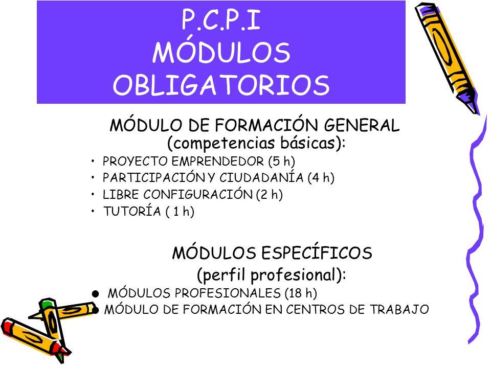 P.C.P.I MÓDULO VOLUNTARIO CONDUCEN A LA OBTENCIÓN DEL TÍTULO –MÓDULO DE COMUNICACIÓN (10 h): lengua castellana y literatura, 1º lengua extranjera –MÓDULO SOCIAL (5 h): Ciencias sociales, geografía e historia, E.P.V, educación para la ciudadanía, música –MÓDULO CIENTÍFICO TECNOLÓGICO (14 h): matemáticas, ciencias de la naturaleza, tecnología, educación física –TUTORÍA ( 1 h)