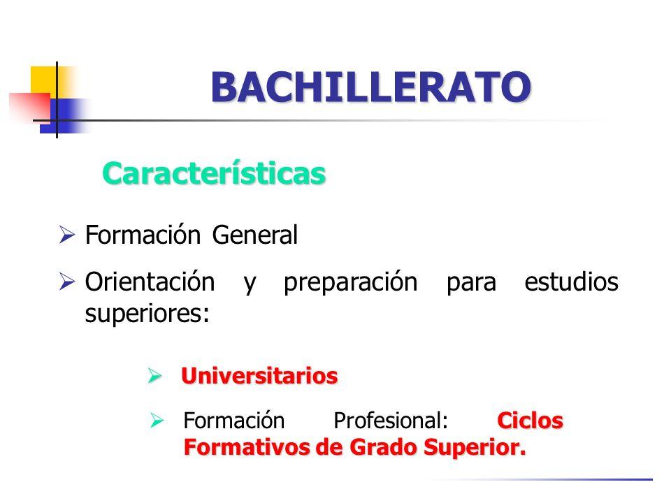 BACHILLERATO Universitarios Universitarios Características Ciclos Formativos de Grado Superior.