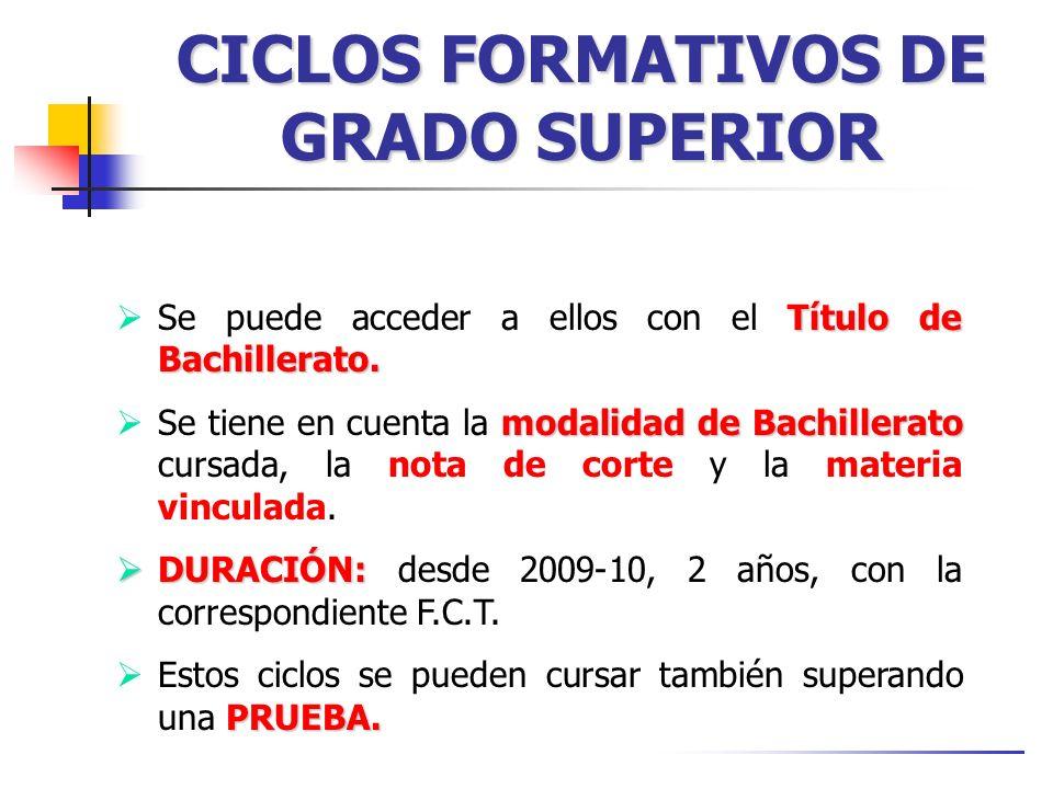 CICLOS FORMATIVOS DE GRADO SUPERIOR Título de Bachillerato.