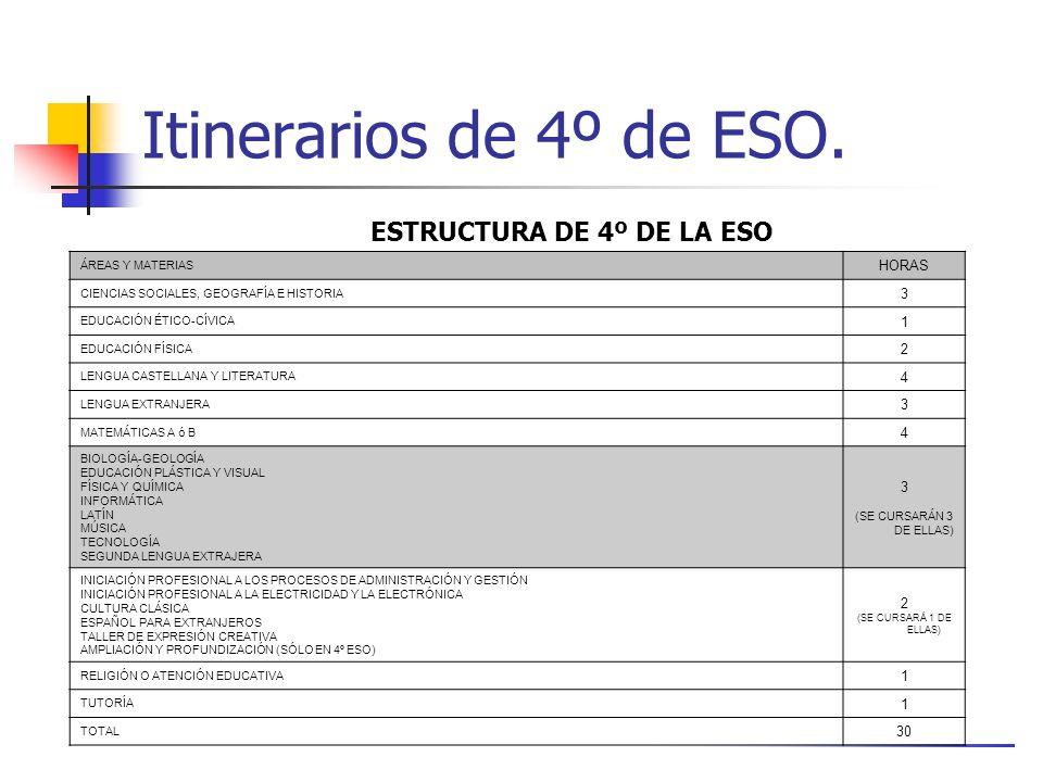 Itinerarios de 4º de ESO.