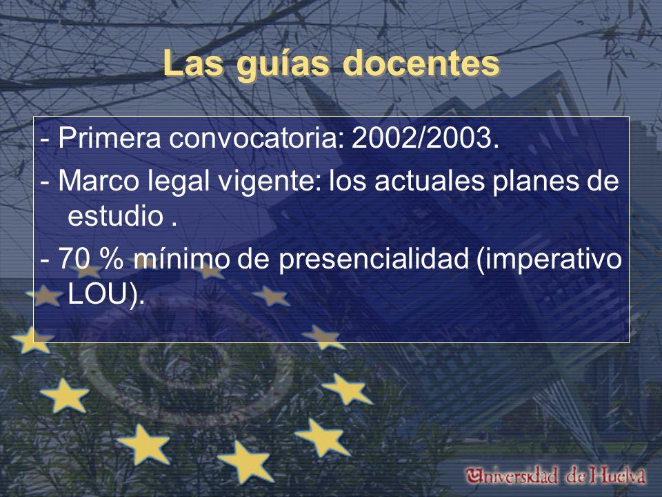 Las guías docentes - Primera convocatoria: 2002/2003.