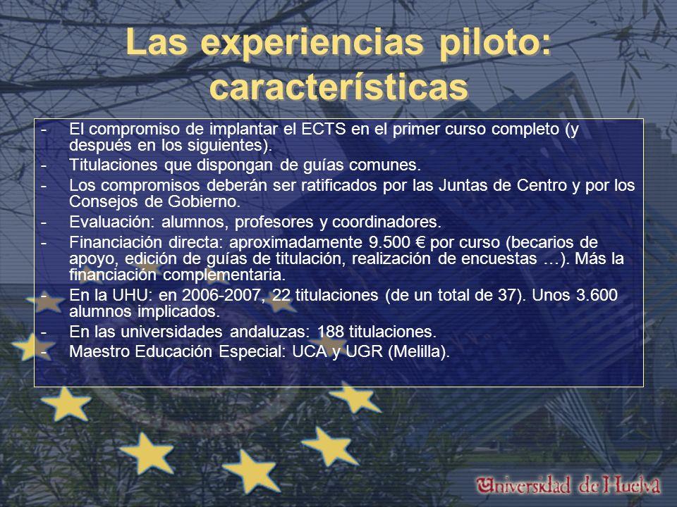 Las experiencias piloto: características -El compromiso de implantar el ECTS en el primer curso completo (y después en los siguientes).