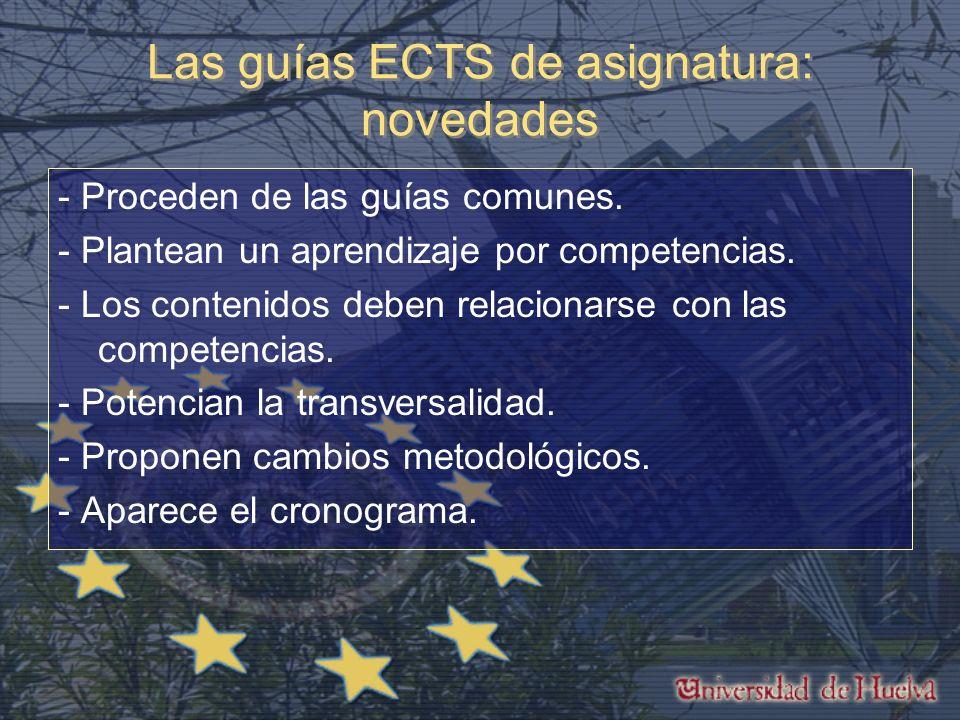 Las guías ECTS de asignatura: novedades - Proceden de las guías comunes.