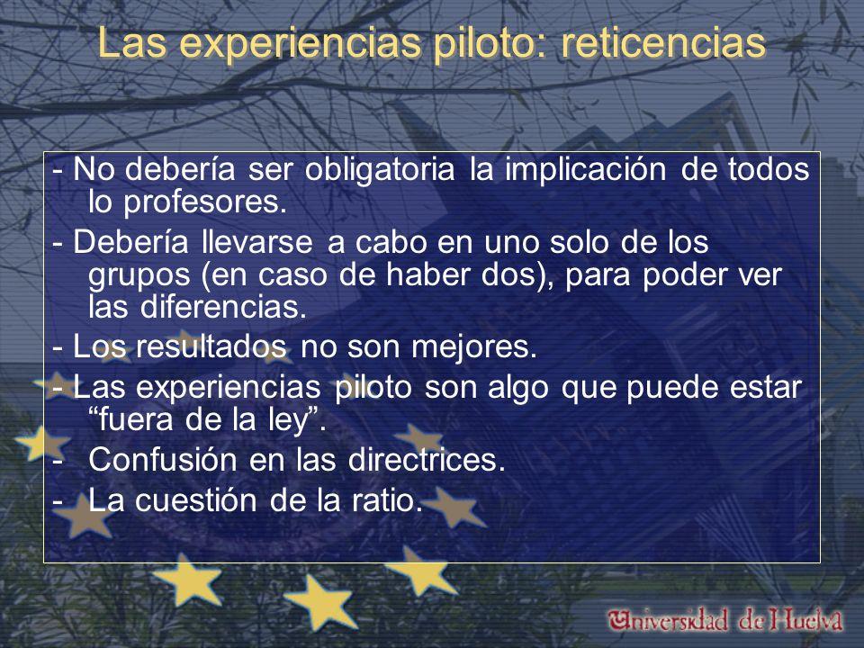 Las experiencias piloto: reticencias - No debería ser obligatoria la implicación de todos lo profesores.
