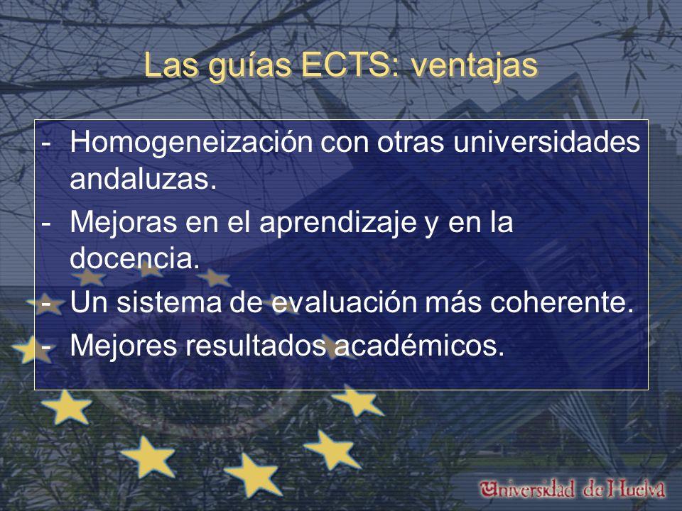 Las guías ECTS: ventajas -Homogeneización con otras universidades andaluzas.
