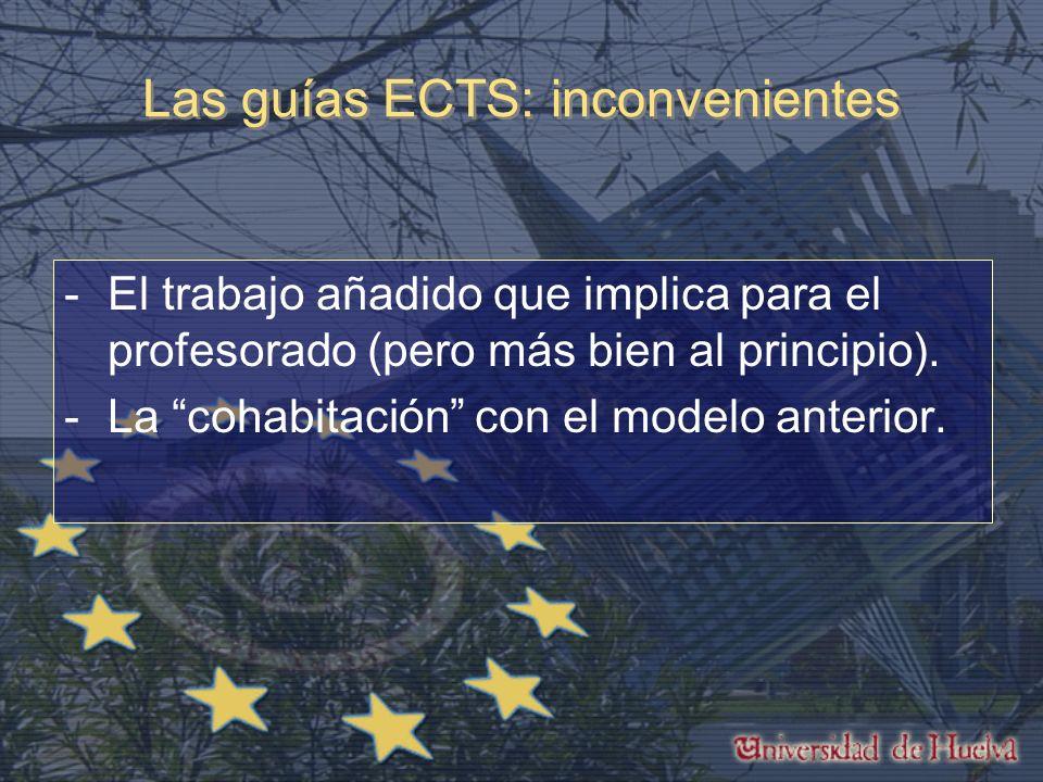 Las guías ECTS: inconvenientes -El trabajo añadido que implica para el profesorado (pero más bien al principio).