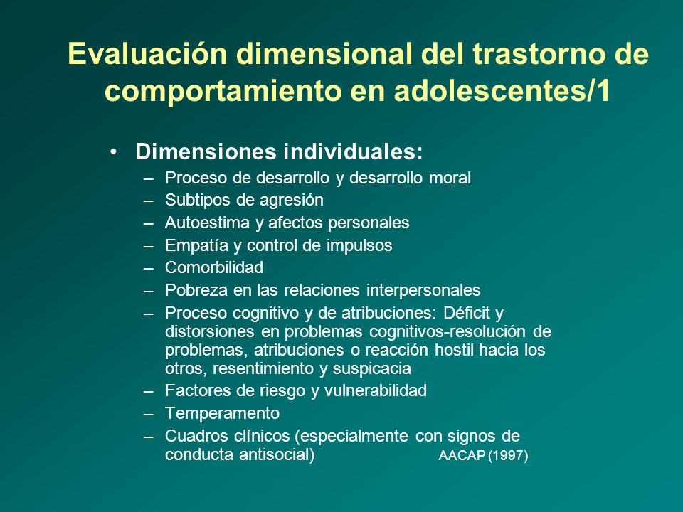 Evaluación dimensional del trastorno de comportamiento en adolescentes/1 Dimensiones individuales: –Proceso de desarrollo y desarrollo moral –Subtipos