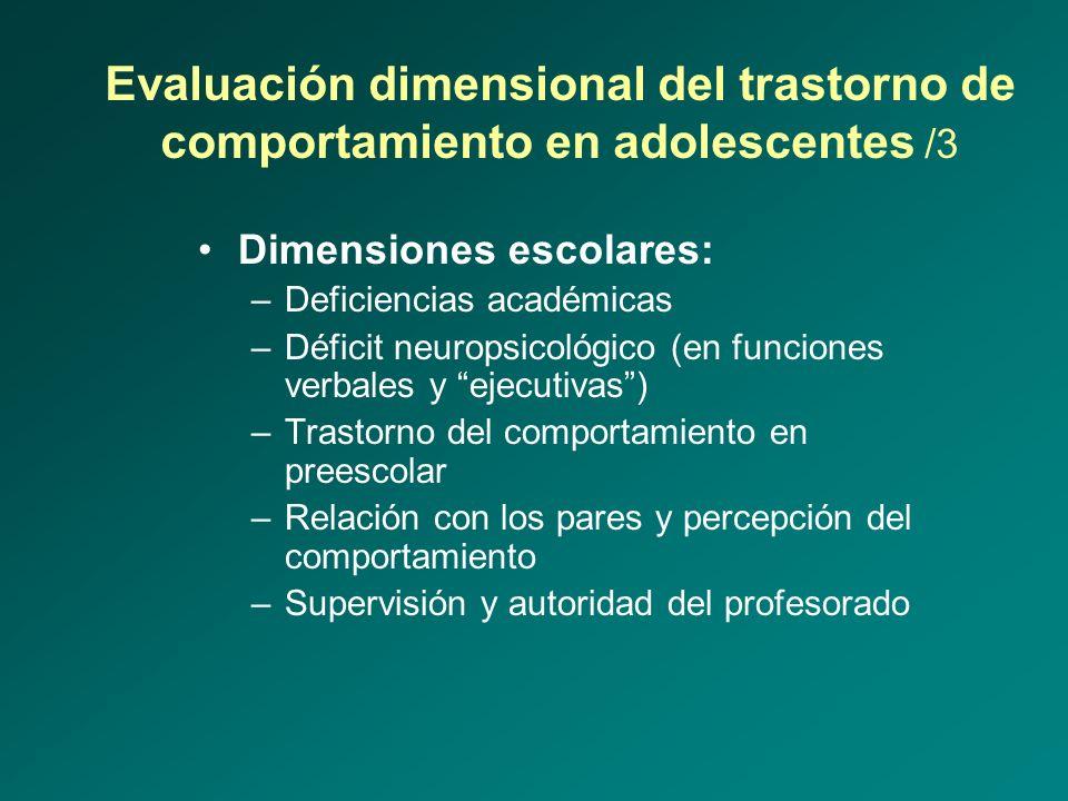 Evaluación dimensional del trastorno de comportamiento en adolescentes /3 Dimensiones escolares: –Deficiencias académicas –Déficit neuropsicológico (e