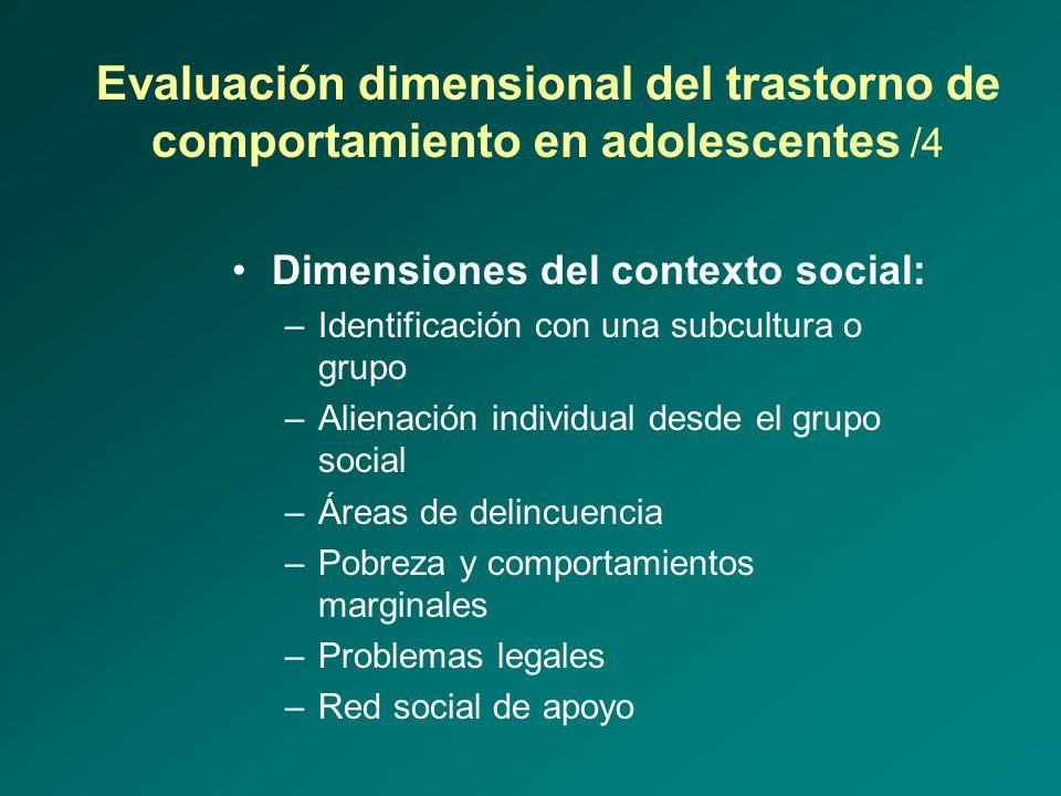Evaluación dimensional del trastorno de comportamiento en adolescentes /4 Dimensiones del contexto social: –Identificación con una subcultura o grupo