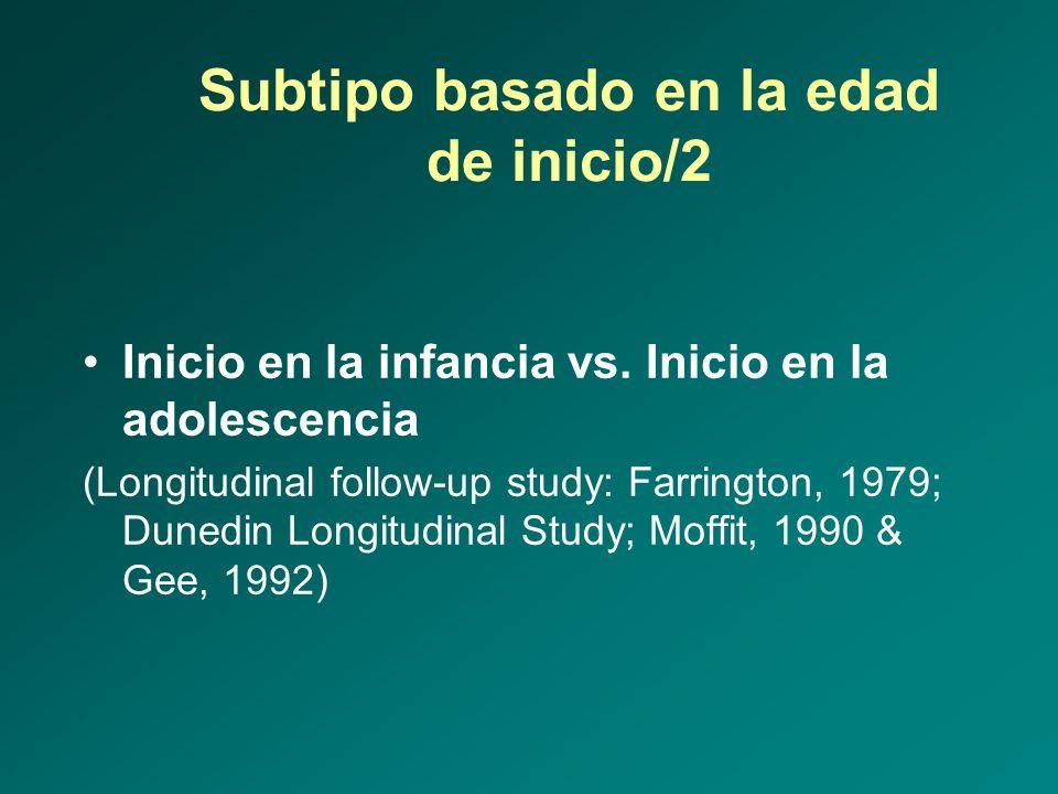 Subtipo basado en la edad de inicio/2 Inicio en la infancia vs. Inicio en la adolescencia (Longitudinal follow-up study: Farrington, 1979; Dunedin Lon