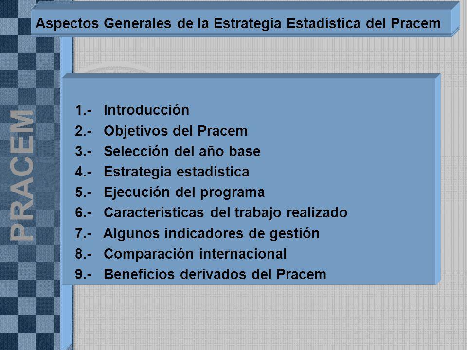 1.- Introducción 2.- Objetivos del Pracem 3.- Selección del año base 4.- Estrategia estadística 5.- Ejecución del programa 6.- Características del tra