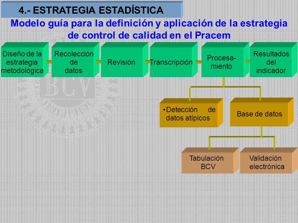 Tabulación BCV Validación electrónica Detección de datos atípicos Base de datos Diseño de la estrategia metodológica Recolección de datos RevisiónTran