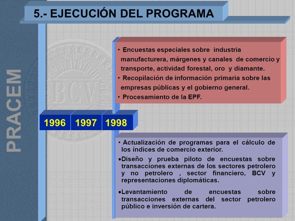 5.- EJECUCIÓN DEL PROGRAMA 19961997 1998 PRACEM Actualización de programas para el cálculo de los índices de comercio exterior. Diseño y prueba piloto