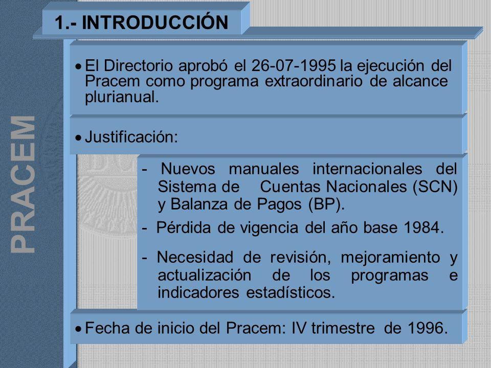 PRACEM Fecha de inicio del Pracem: IV trimestre de 1996. - Nuevos manuales internacionales del Sistema de Cuentas Nacionales (SCN) y Balanza de Pagos