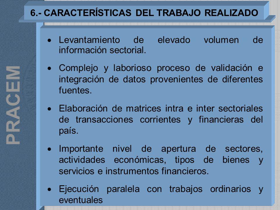 6.- CARACTERÍSTICAS DEL TRABAJO REALIZADO Levantamiento de elevado volumen de información sectorial. Complejo y laborioso proceso de validación e inte