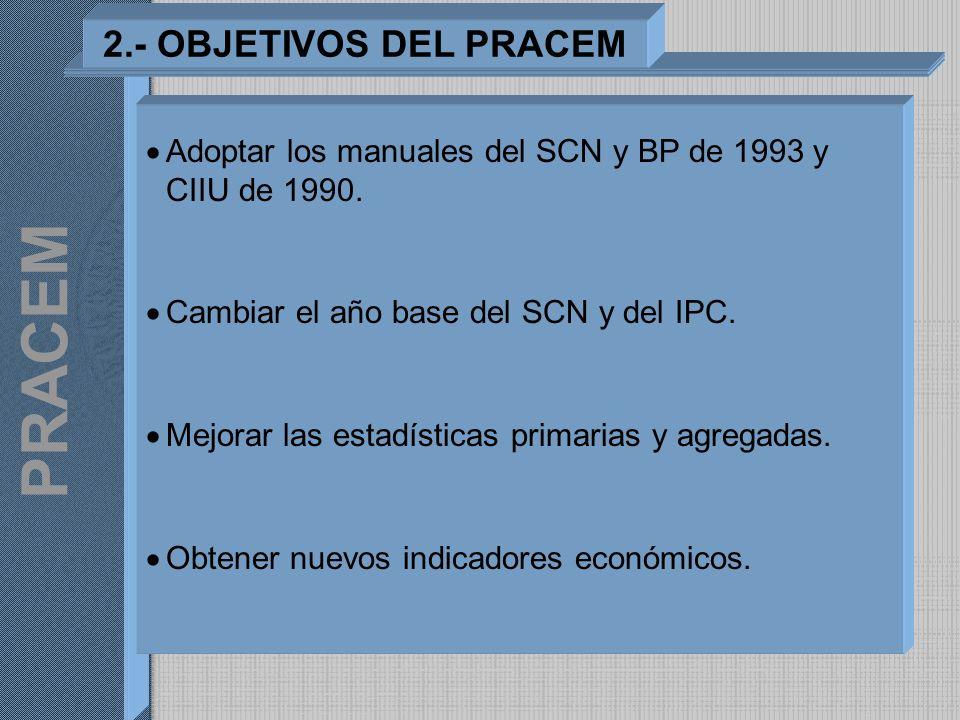 Adoptar los manuales del SCN y BP de 1993 y CIIU de 1990. Cambiar el año base del SCN y del IPC. Mejorar las estadísticas primarias y agregadas. Obten