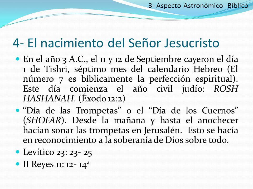 4- El nacimiento del Señor Jesucristo En el año 3 A.C., el 11 y 12 de Septiembre cayeron el día 1 de Tishri, séptimo mes del calendario Hebreo (El número 7 es bíblicamente la perfección espiritual).