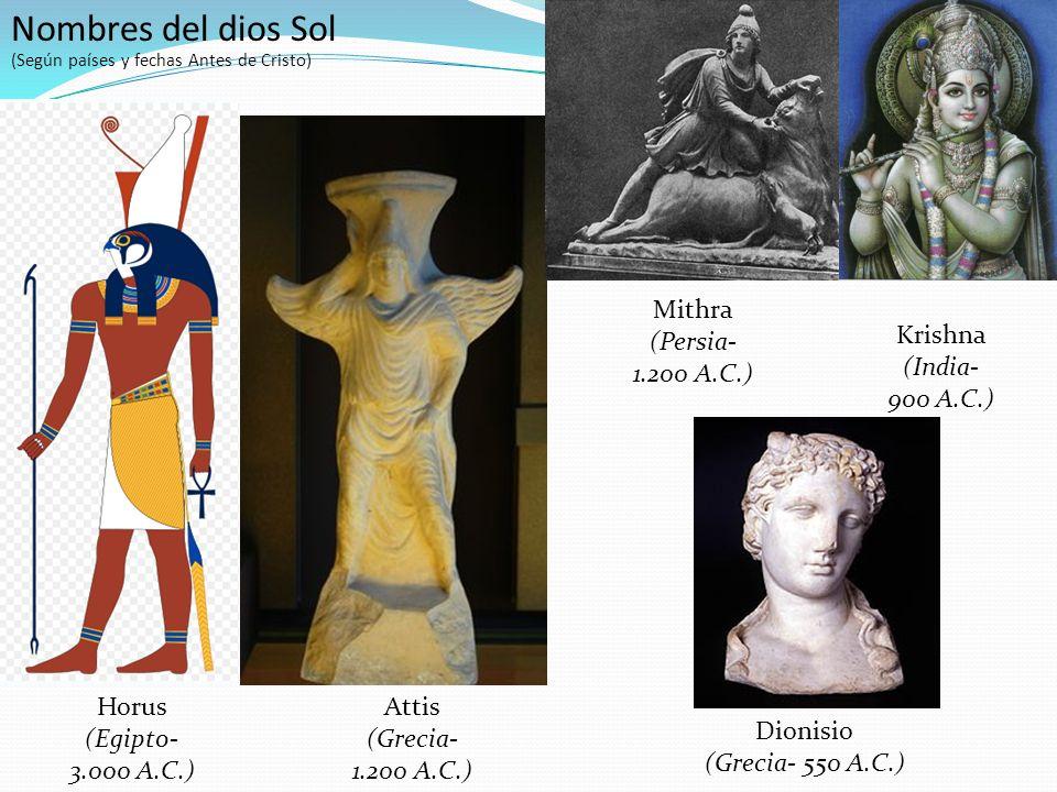 Horus (Egipto- 3.000 A.C.) Attis (Grecia- 1.200 A.C.) Mithra (Persia- 1.200 A.C.) Krishna (India- 900 A.C.) Dionisio (Grecia- 550 A.C.) Nombres del dios Sol (Según países y fechas Antes de Cristo)