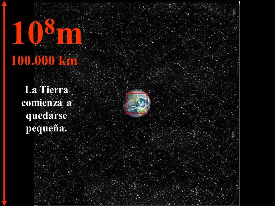 10 7 m 10.000 km Podemos ver el Hemisferio Norte de la Tierra y una parte del Hemisferio Sur.