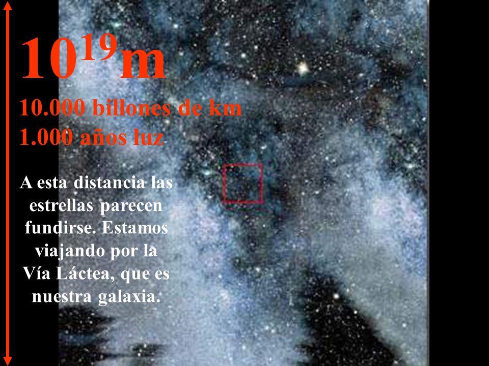 10 18 m 1.000 billones de km 100 años luz Nada aparte de estrellas y nebulosas.