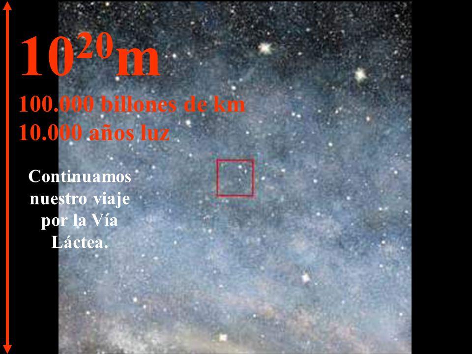 10 19 m 10.000 billones de km 1.000 años luz A esta distancia las estrellas parecen fundirse.