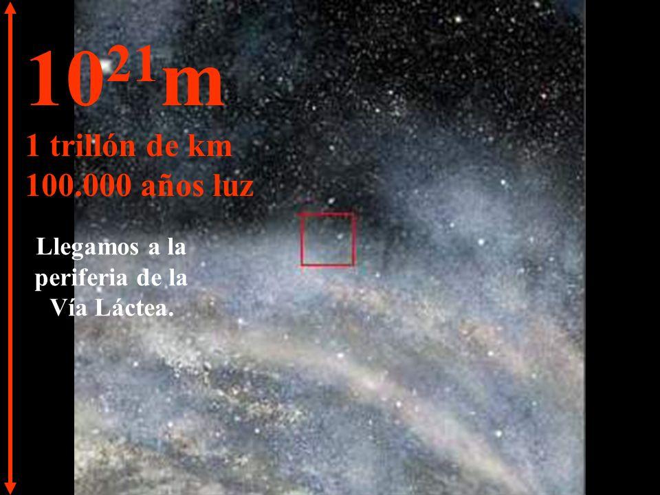 10 20 m 100.000 billones de km 10.000 años luz Continuamos nuestro viaje por la Vía Láctea.