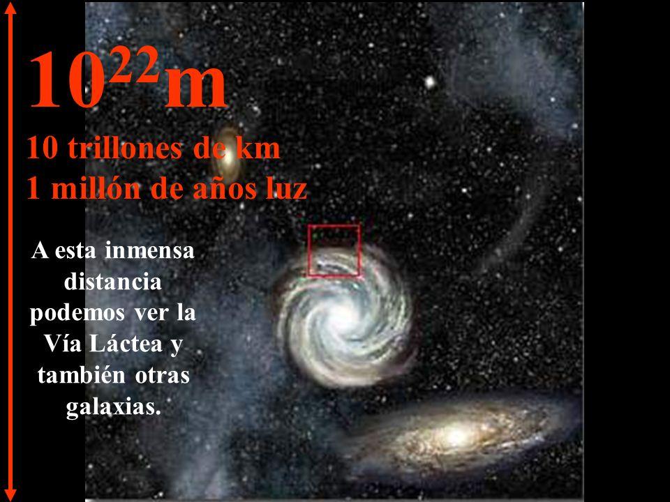10 21 m 1 trillón de km 100.000 años luz Llegamos a la periferia de la Vía Láctea.