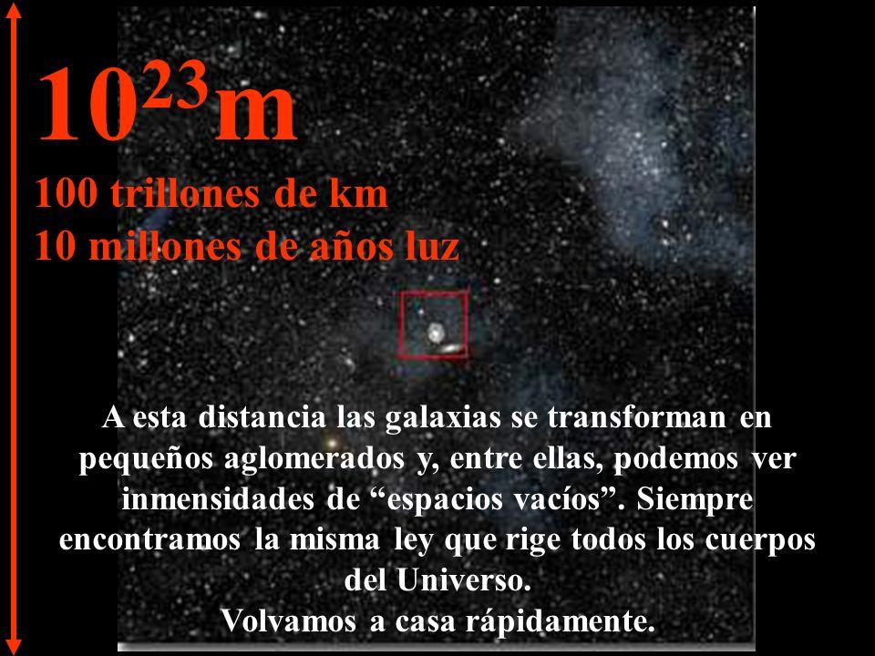 10 22 m 10 trillones de km 1 millón de años luz A esta inmensa distancia podemos ver la Vía Láctea y también otras galaxias.