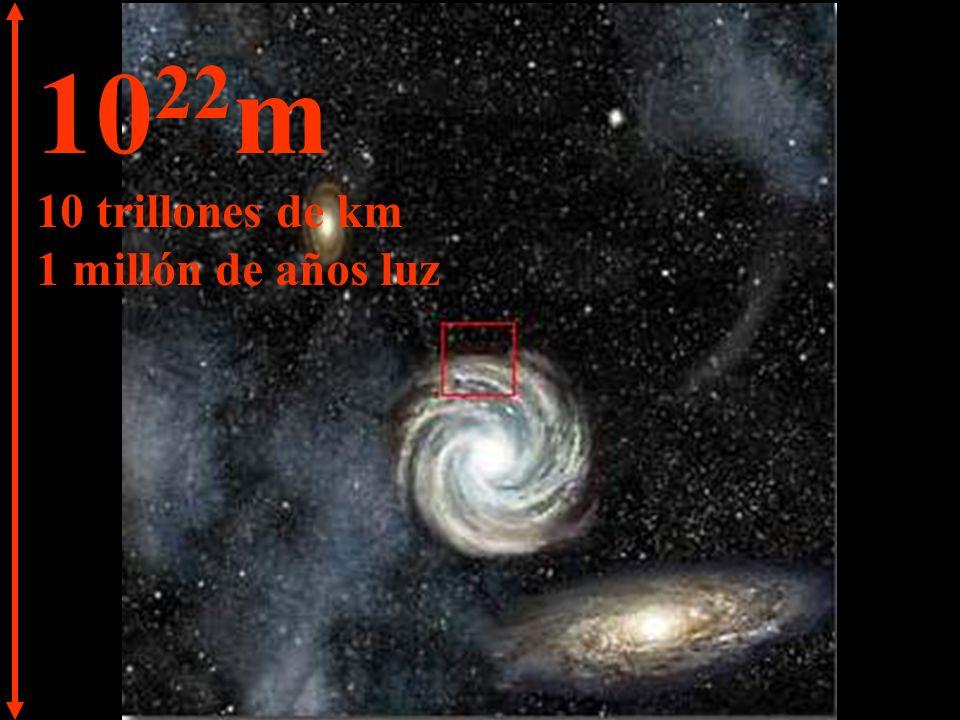 10 23 m 100 trillones de km 10 millones de años luz A esta distancia las galaxias se transforman en pequeños aglomerados y, entre ellas, podemos ver inmensidades de espacios vacíos.