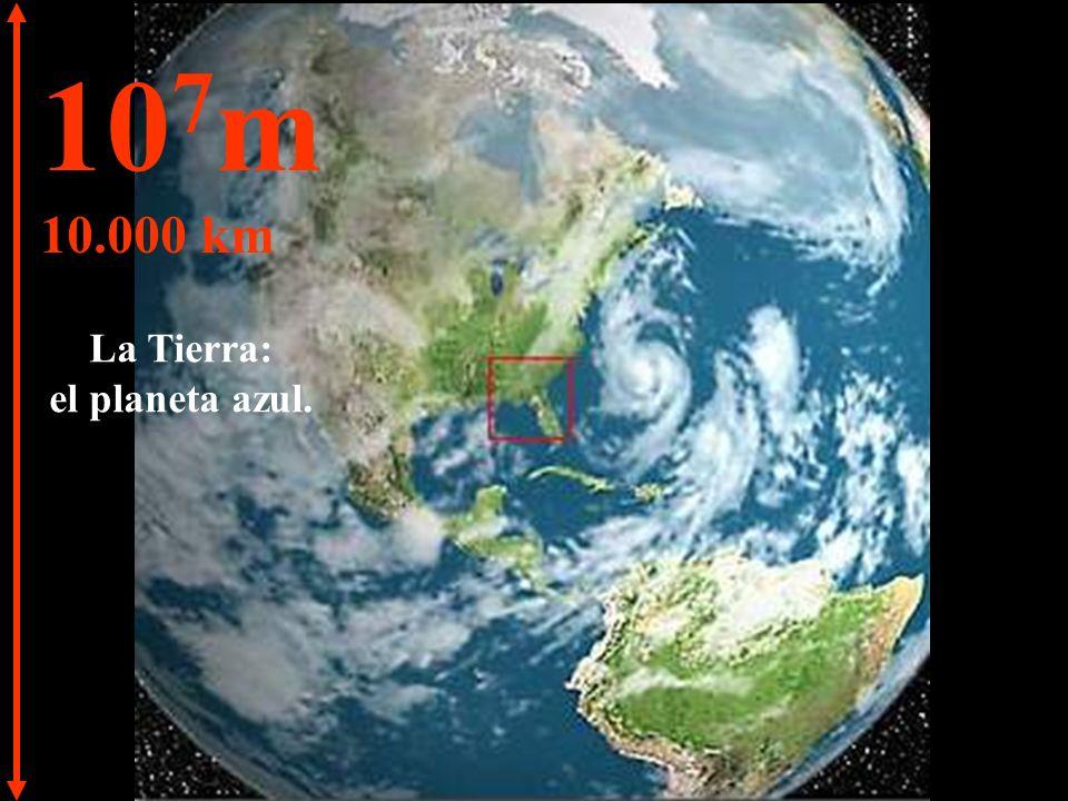 10 8 m 100.000 km Ahora vamos a disminuir la velocidad. Podemos ver nuevamente nuestro planeta.