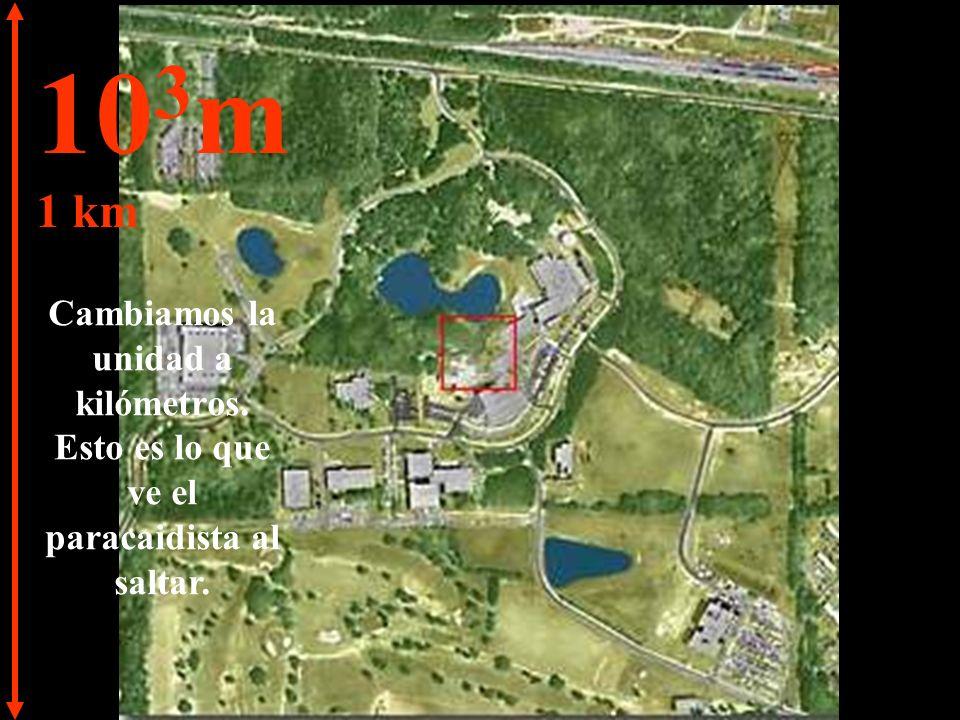 10 3 m 1 km Cambiamos la unidad a kilómetros. Esto es lo que ve el paracaidista al saltar.