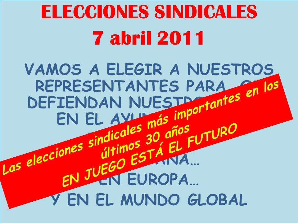 ELECCIONES SINDICALES 7 abril 2011 VAMOS A ELEGIR A NUESTROS REPRESENTANTES PARA QUE DEFIENDAN NUESTRO FUTURO: EN EL AYUNTAMIENTO… EN CATALUÑA… EN ESPAÑA… EN EUROPA… Y EN EL MUNDO GLOBAL Las elecciones sindicales más importantes en los últimos 30 años EN JUEGO ESTÁ EL FUTURO