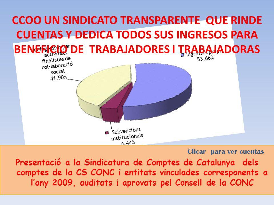 CCOO UN SINDICATO TRANSPARENTE QUE RINDE CUENTAS Y DEDICA TODOS SUS INGRESOS PARA BENEFICIO DE TRABAJADORES I TRABAJADORAS Clicar para ver cuentas Presentació a la Sindicatura de Comptes de Catalunya dels comptes de la CS CONC i entitats vinculades corresponents a lany 2009, auditats i aprovats pel Consell de la CONC