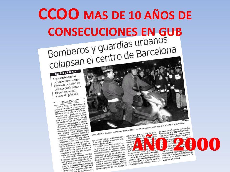CCOO MAS DE 10 AÑOS DE CONSECUCIONES EN GUB AÑO 2000