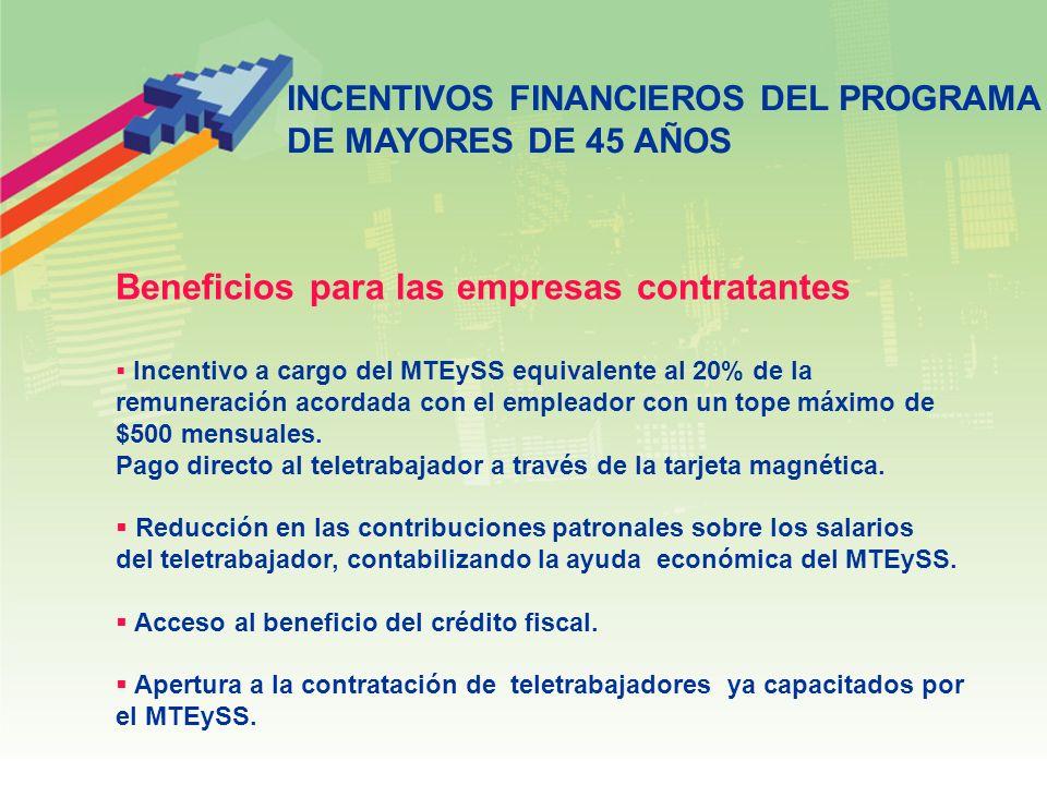 INCENTIVOS FINANCIEROS DEL PROGRAMA DE MAYORES DE 45 AÑOS Beneficios para las empresas contratantes Incentivo a cargo del MTEySS equivalente al 20% de