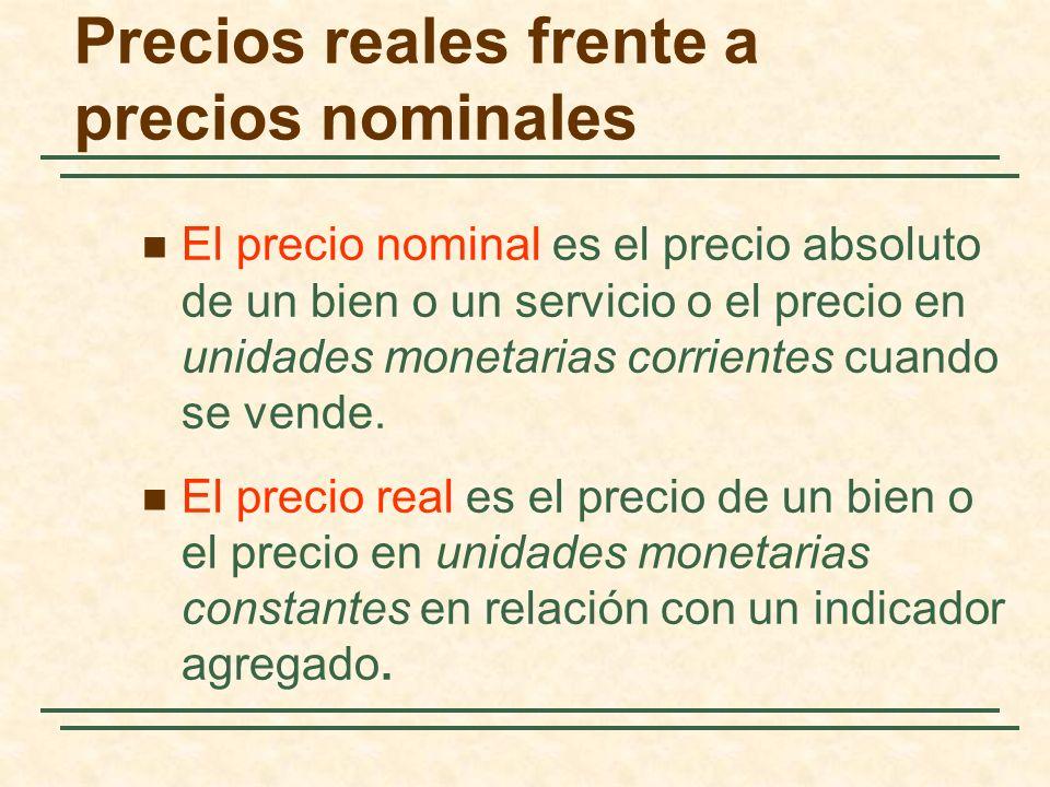Precios reales frente a precios nominales El precio nominal es el precio absoluto de un bien o un servicio o el precio en unidades monetarias corrientes cuando se vende.