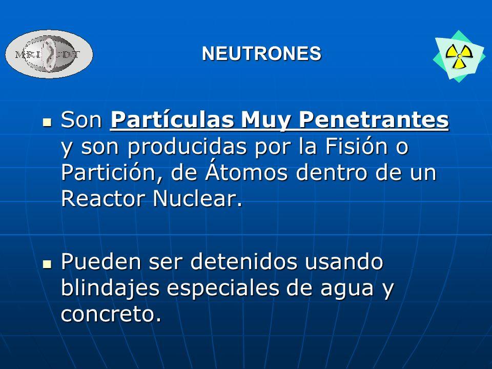 Son Partículas Muy Penetrantes y son producidas por la Fisión o Partición, de Átomos dentro de un Reactor Nuclear. Son Partículas Muy Penetrantes y so