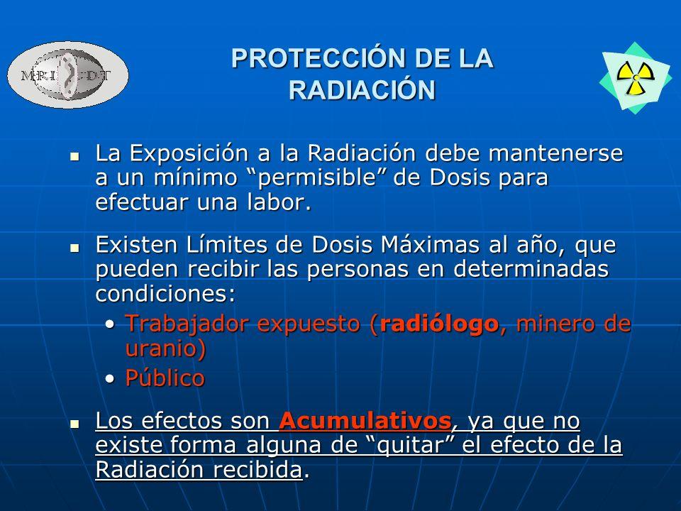 La Exposición a la Radiación debe mantenerse a un mínimo permisible de Dosis para efectuar una labor. La Exposición a la Radiación debe mantenerse a u