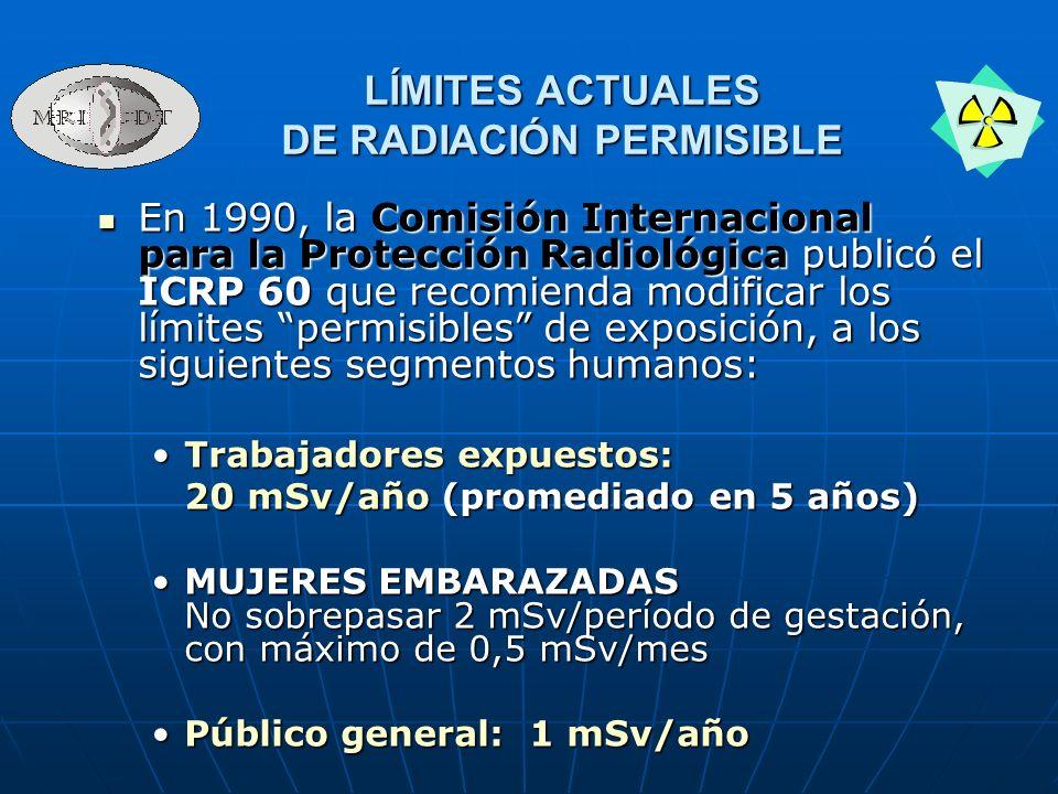 En 1990, la Comisión Internacional para la Protección Radiológica publicó el ICRP 60 que recomienda modificar los límites permisibles de exposición, a