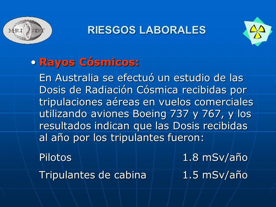 Rayos Cósmicos:Rayos Cósmicos: En Australia se efectuó un estudio de las Dosis de Radiación Cósmica recibidas por tripulaciones aéreas en vuelos comer
